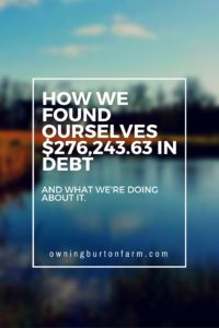 First Finance Post at http://owningburtonfarm.com/ where we talk about getting out of debt and building our homesteading venture. Here's our CTJ meeting, our sobering up on the status of our finances.