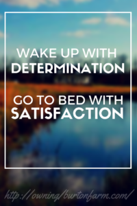 QUOTE - WAKE UP WITH DETERMINATION, GO TO BED WITH SATISFACTION. Determine your habits that will get you where you want to go, and commit to them each day. http://owningburtonfarm.com/