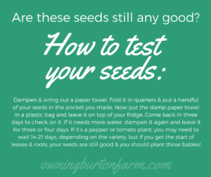 How to test your seeds for viability: Dampen & wring out a paper towel. Fold it in quarters & put a handful of your seeds in the pocket you made. Now put the damp paper towel in a plastic bag and leave it on top of your fridge. Come back in three days to check on it. If it needs more water, dampen it again and leave it for three or four days. If it's a pepper or tomato plant, you may need to wait 14-21 days, depending on the variety, but if you get the start of leaves & roots, your seeds are still good & you should plant those babies!