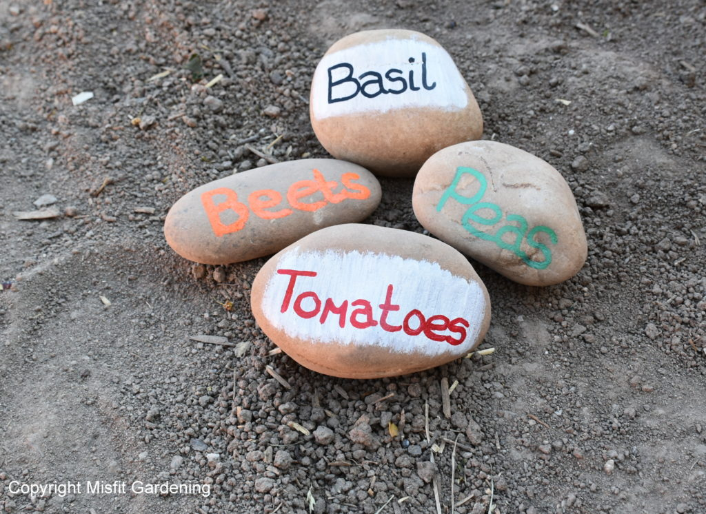 Rocks with Paint Markers - You can make free seedling labels out of all kinds of things. Click to see more ideas for free and cheap labels for your plants. Owning Burton Farm and Misfit Gardening are teamed up for a Frugal Gardening Series. Come see what we're up to and get your garden started!
