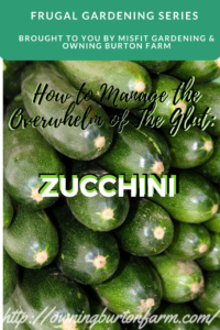 Zucchini ...How to manage the overwhelm of the glut of zucchini -- Come take a look at all the great ideas for using up that zucchini deliciously! Sign up to see our glut posts on tomatoes and cucumbers, too.