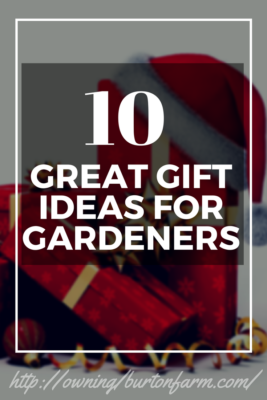 10 Great Gift Ideas for Gardeners: Trolly Dolly, Garden Cart, Dehydrator, Canning Jars, Garden Planners, Seed Saving Kits, Storage closets and more. Click through to read more ideas or pin for later.